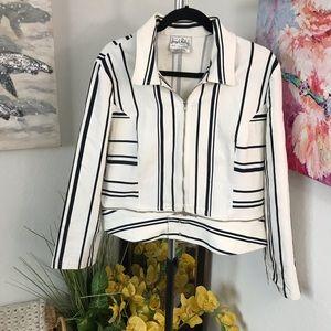 Joseph Ribkoff Black & White Stripe Zipper Blazer